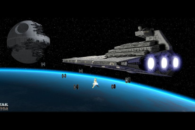 Sci Fi - Star Wars Death Star Star Destroyer TIE Fighter Wallpaper