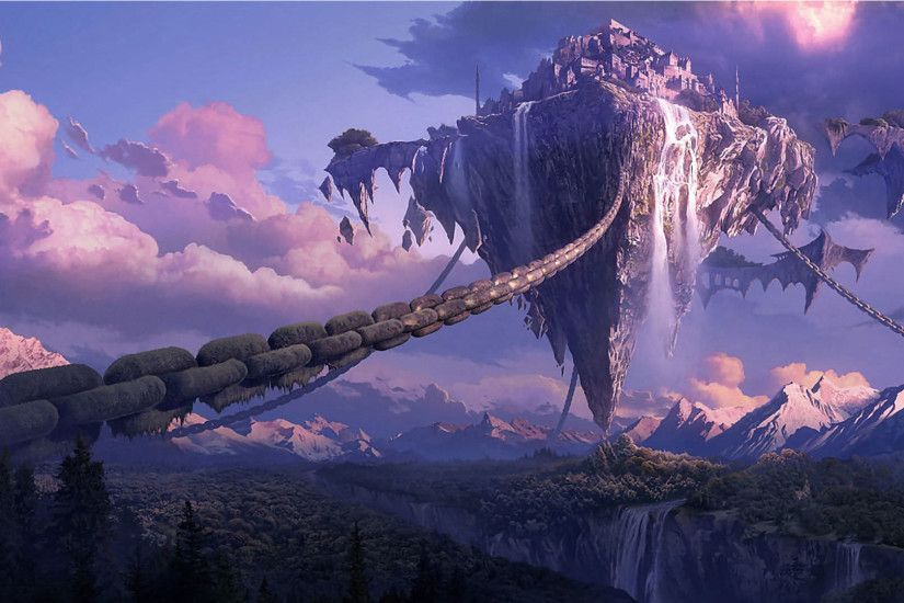 Awesome wallpaper of Wallpaper Chained Floating Island Fantasy 1920 X 1080  Full Hd, resolution 1920 x type Full Hd 1920 1080 Widescreen Awesome, for  Desktop ...