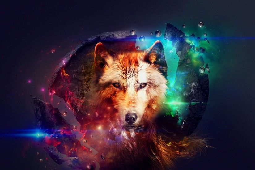 Abstract Design Wolf Collage Space Colorful hd wallpaper by JennyMari