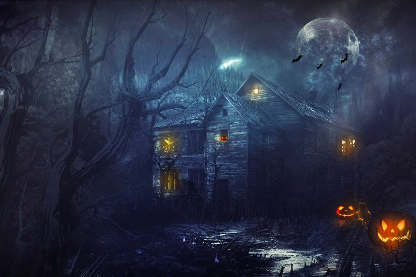 Holiday - Halloween Holiday Haunted House House Night Scary Wallpaper