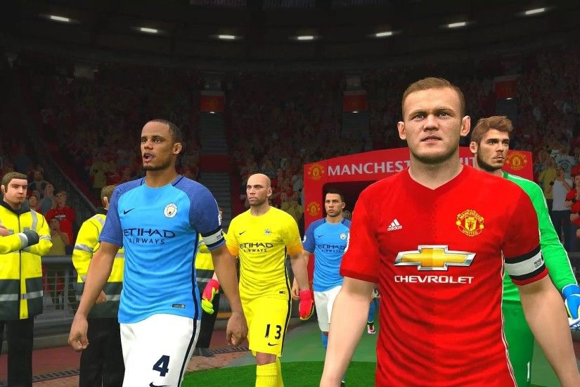 Premier League 2016/2017 † Manchester United vs Manchester City Gameplay -  YouTube