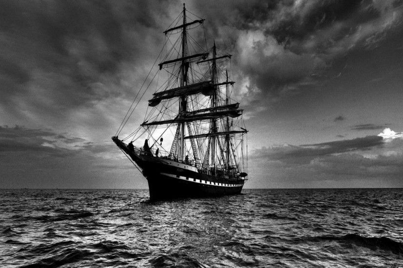 Preview wallpaper ship, sea, sail, storm, black white 1920x1080