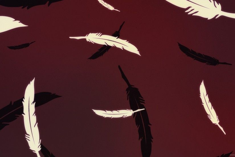 Digital Feathers On Maroon Background for 2560x1440