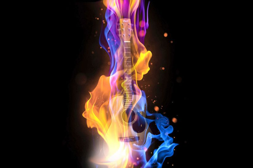 hd pics photos music abstract guitar fire digital art desktop background  wallpaper