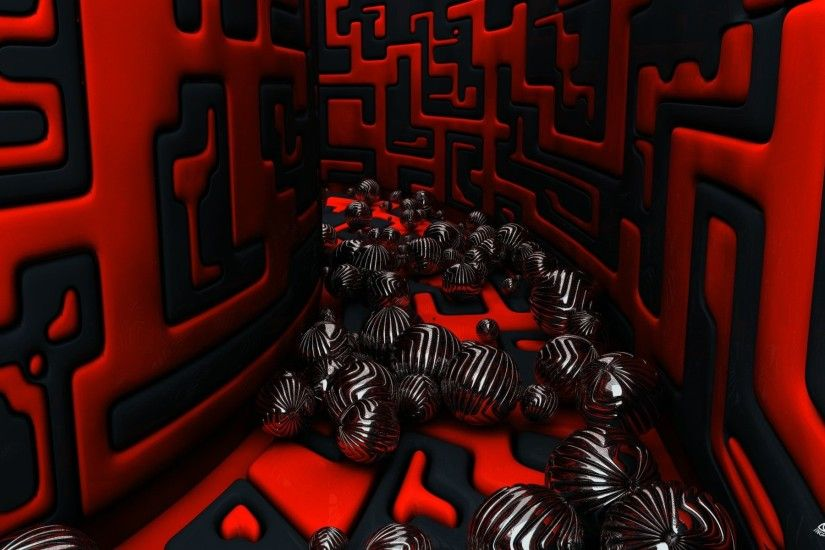 3D Red Black Spheres HD Widescreen Desktop Wallpaper