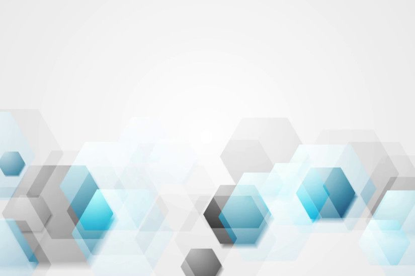 Blue grey bright abstract hexagons tech motion background. Video animation  HD 1920x1080