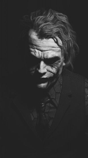 1080x1920 Heath Ledger Joker Monochrome Batman