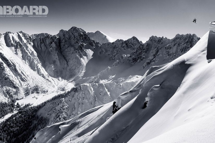 Black and White Snowboarding HD Wallpaper