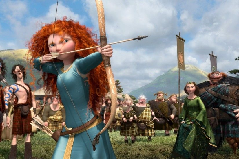 brave the movie disney pixar film scotland king queen bow competition  princess archer warrior merida red