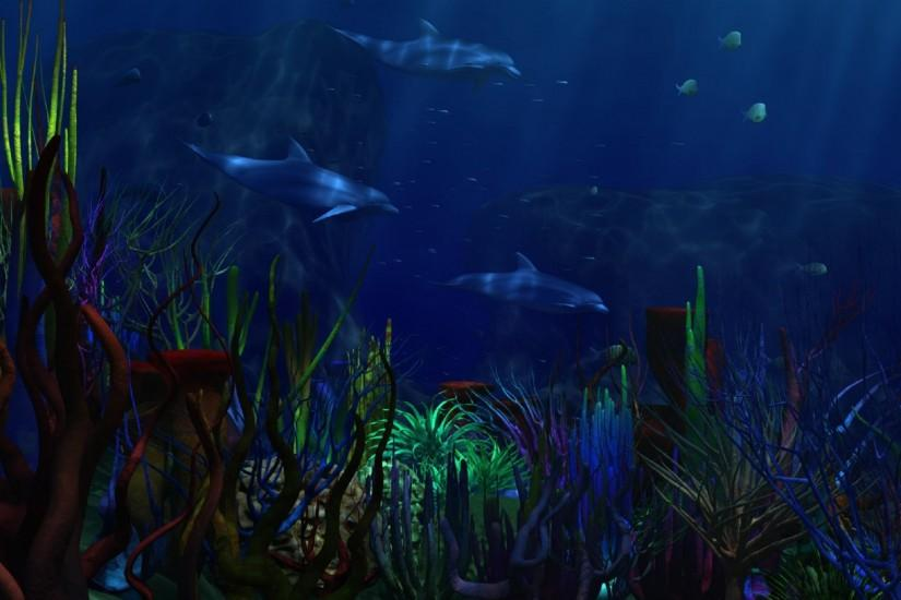 underwater world sea dolphins algae corals . dark blue background .