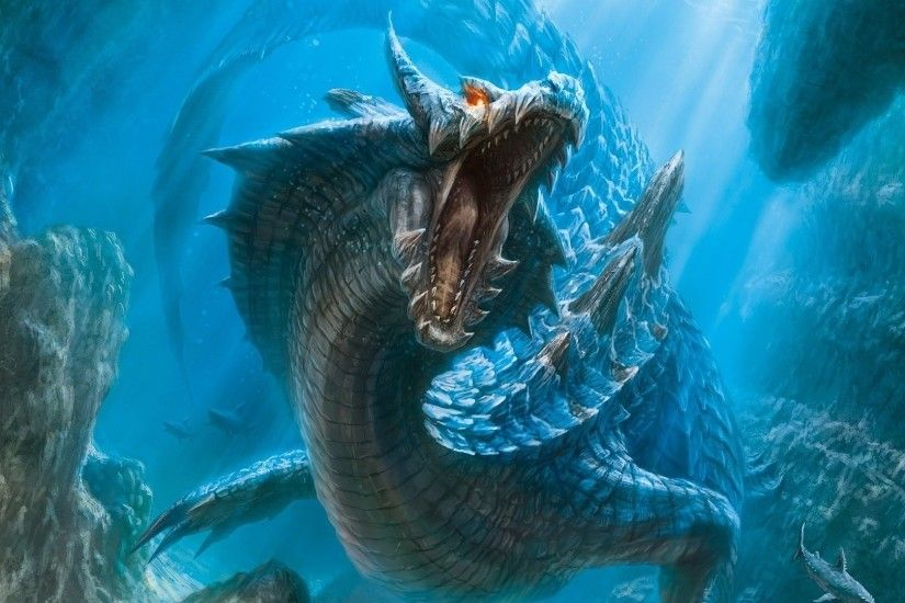 dragons fantasy art artwork lagiacrus monster hunter 3 underwater 1920x1080 wallpaper  Wallpaper HD