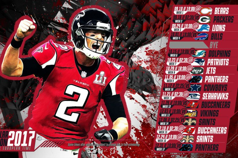 Schedule wallpaper for the Atlanta Falcons Regular Season, 2017 Central  European Time. Made by