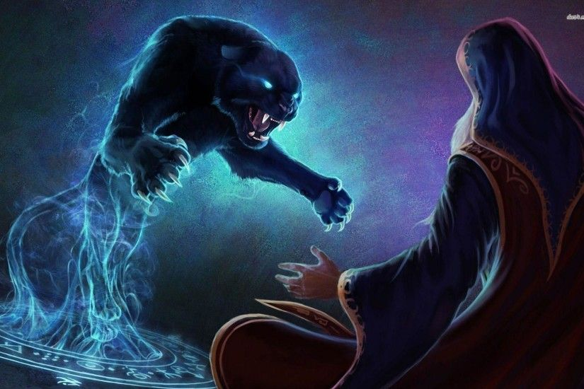 Panther attacking the mage wallpaper - Fantasy wallpapers - #