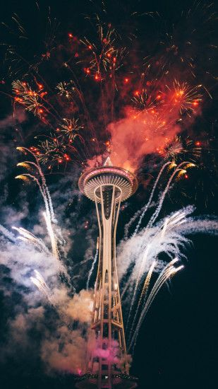 Firework, Celebration, Space needle iPhone Wallpaper