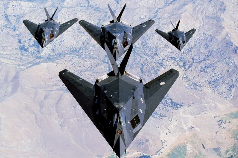2 USAF F 117 Nighthawk Formation