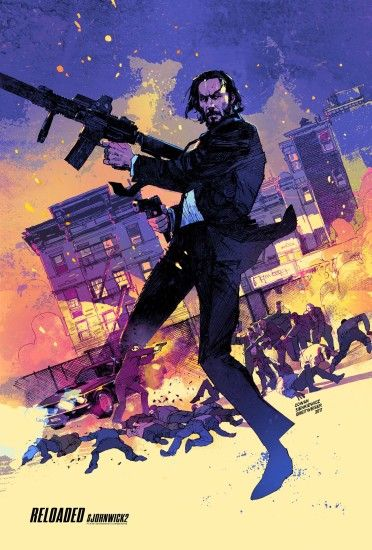 "John Wick Chapter 2 movie poster artwork for the 2017 Keanu Reeves movie  ""John Wick"