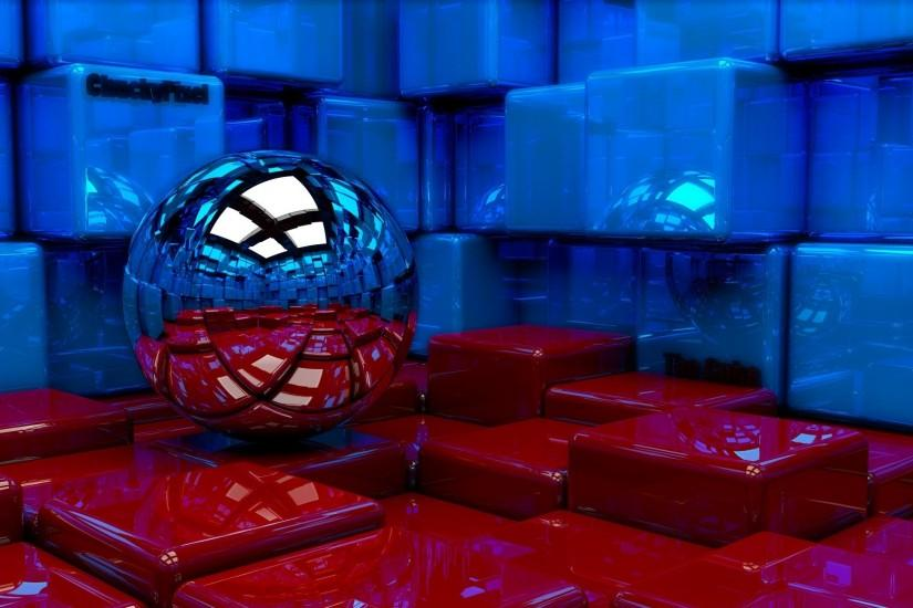 Preview wallpaper ball, cubes, metal, blue, red, reflection 1920x1080