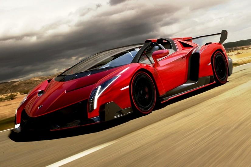 Red Lamborghini Veneno Wallpaper 03