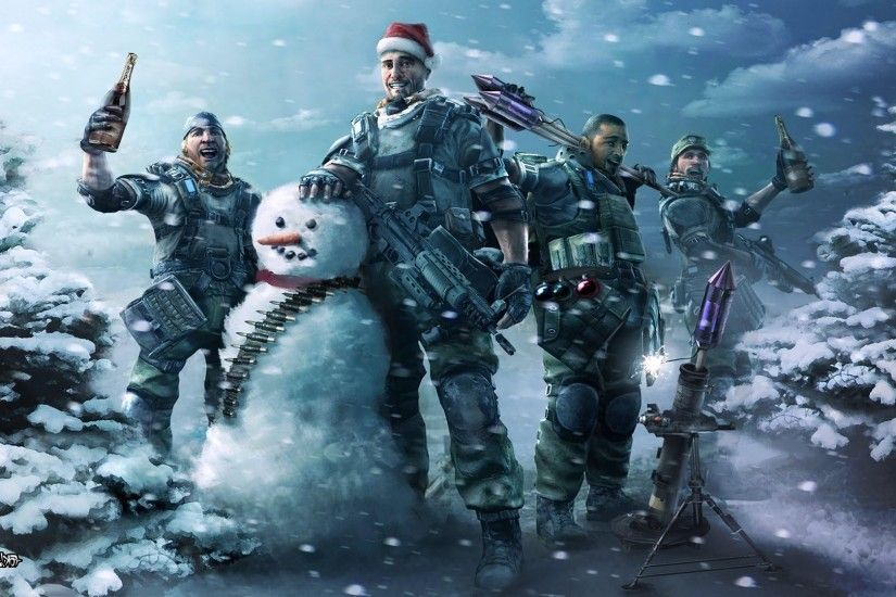 snowman, Snow, Christmas, Army Gear, Army, Wine, Gun, Winter, Ammunition,  Ammobelt, Killzone Wallpapers HD / Desktop and Mobile Backgrounds