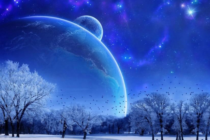 Preview wallpaper nature, landscape, winter, sky, snow, full moon, trees