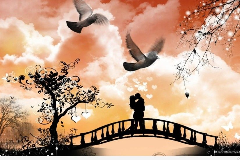 Spring-love-couple-kissing-on-bridge-wallpaper-14645125-