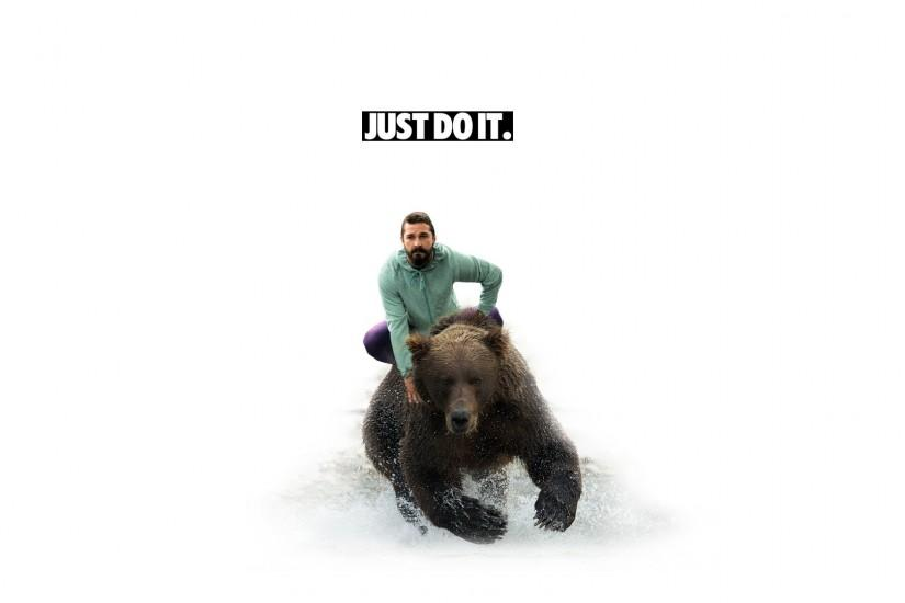 Shia labeouf white bear grizzly bear just do it images.