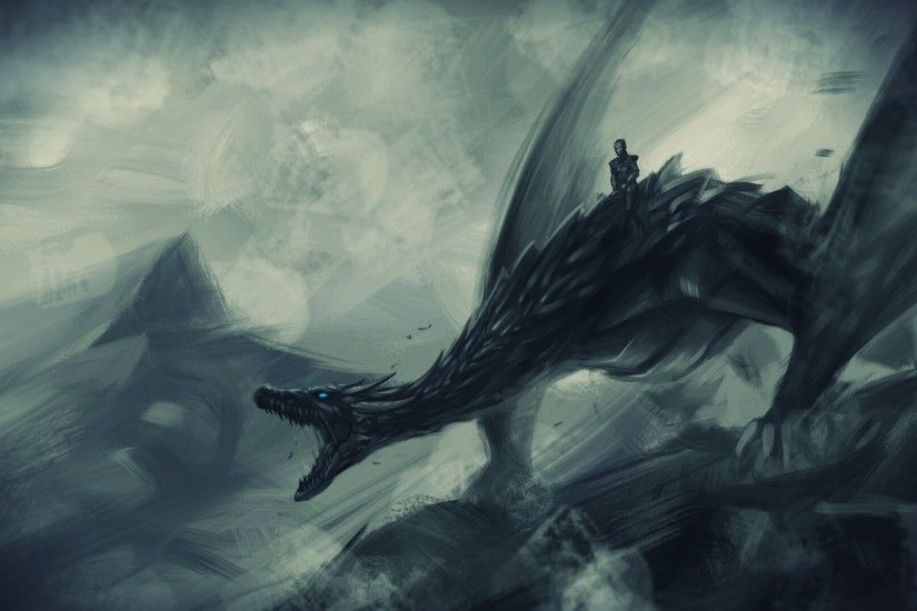 Game Of Thrones Night King Riding Ice Dragon Viserion Art Wallpaper