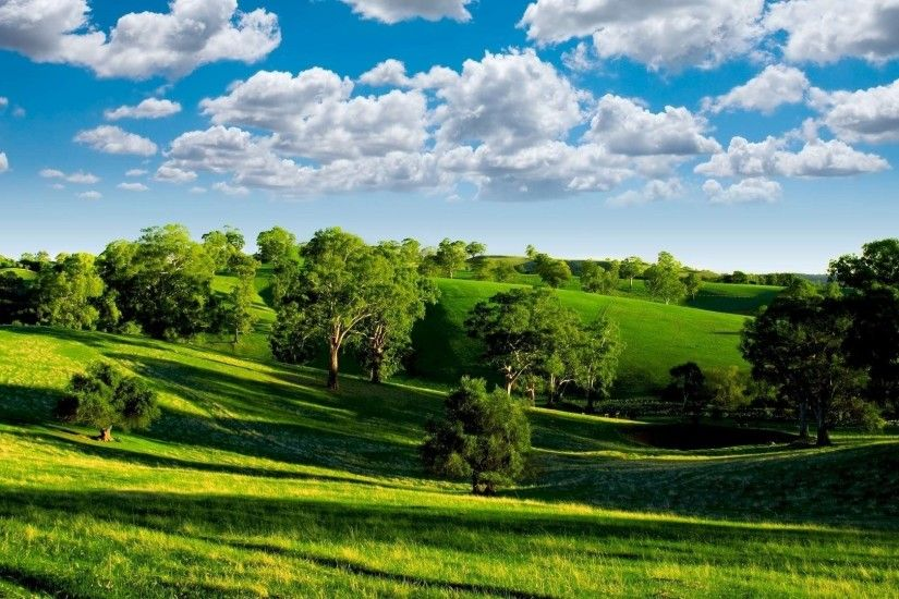 Preview wallpaper summer, hills, trees, green, meadows, clouds, sky,