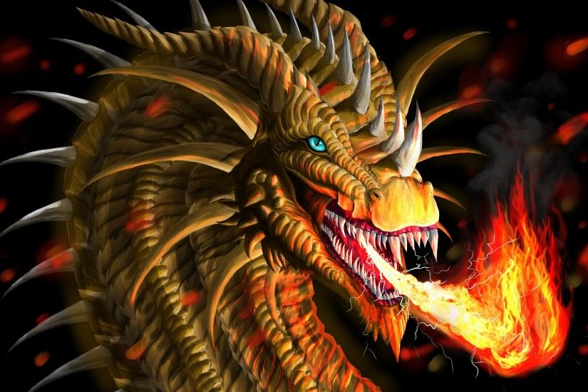 Download Wallpaper 3840x2160 Dragon, Fire-breathing, Flame, Art 4K .