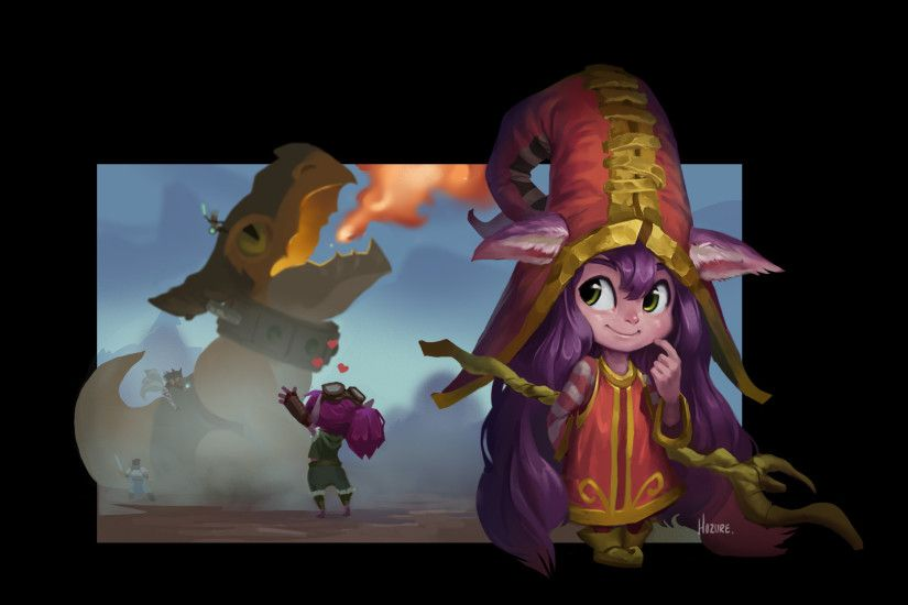 Lulu & Dragon Trainer Tristana by Hozure (2) HD Wallpaper Fan Art Artwork  League