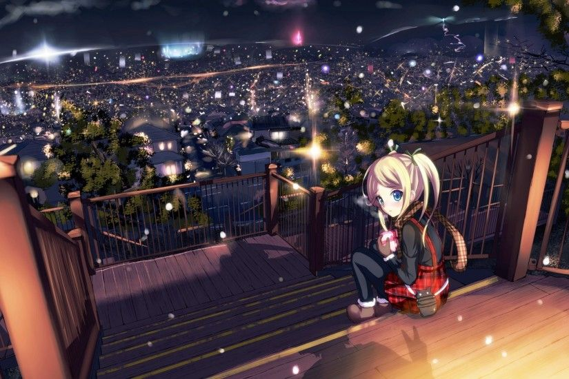 Anime Girls Blondes Blue Eyes City Lights Cityscapes Houses Long Hair  Looking Back Night Original Characters Ribbons Scarfs Shadows Sitting  Skylines ...
