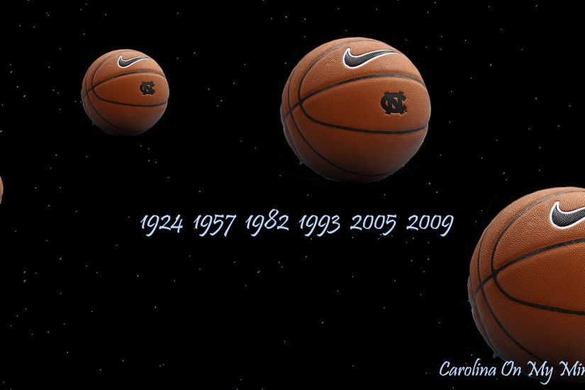 UNC Desktop Wallpaper - Basketballs in Dark Sky
