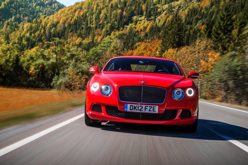 Preview wallpaper bentley, continental, gt, red, front view, movement, speed