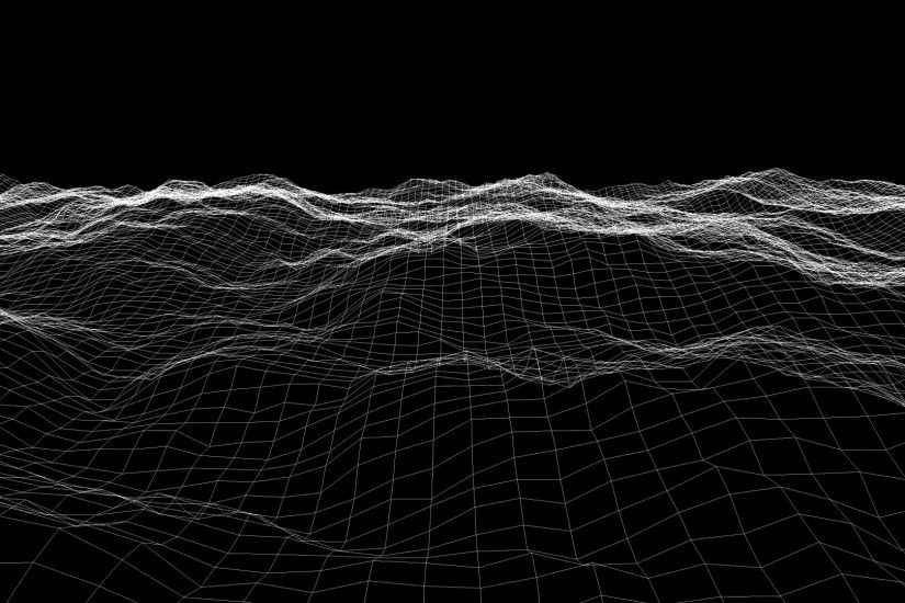 Wireframe Wave Background in Motion. Nice 3D Animation for your Project