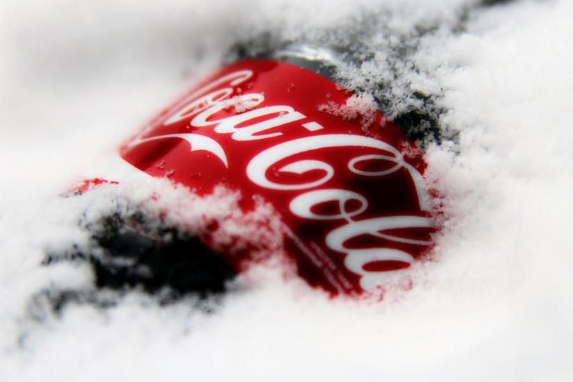 Preview wallpaper coca-cola, drink, soda, snow, logo 1920x1080
