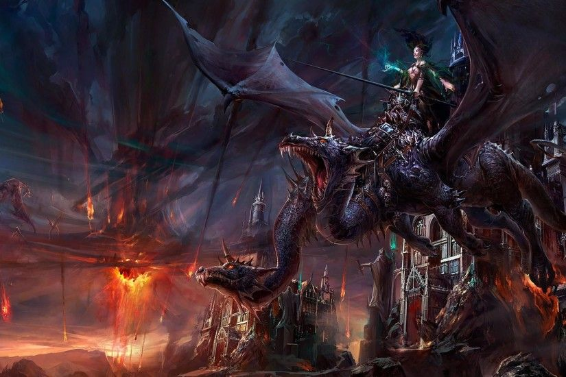 This fantasy wallpaper shows a world where warriors ride dragons and battle  it out in the sky. This dragon also seems like a beast that would only rise  on ...