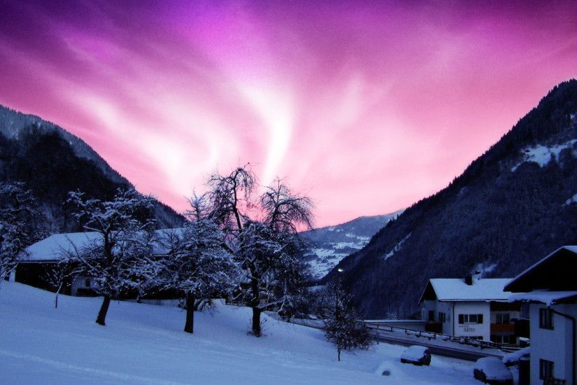 HD Beauty Of The Northern Lights Purple Sky Cold Winter House Hd Wallpapers  Of Northern Lights