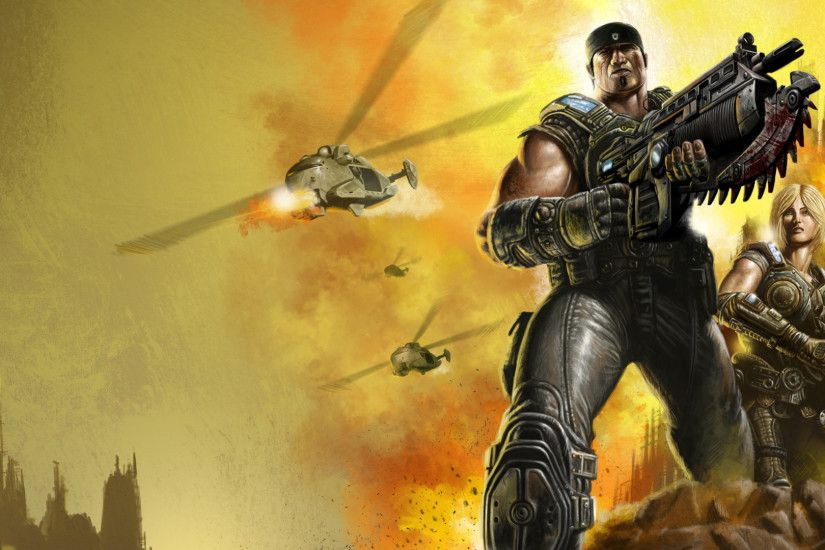 Preview wallpaper gears of war, marcus fenix, anya stroud, soldiers,  weapons 2560x1080