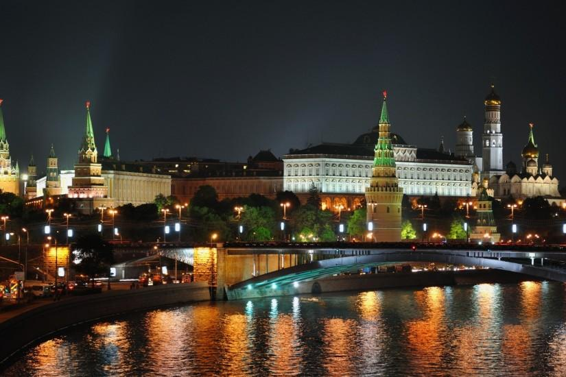 Preview wallpaper city , moscow, night, lights, bridge, reflection,