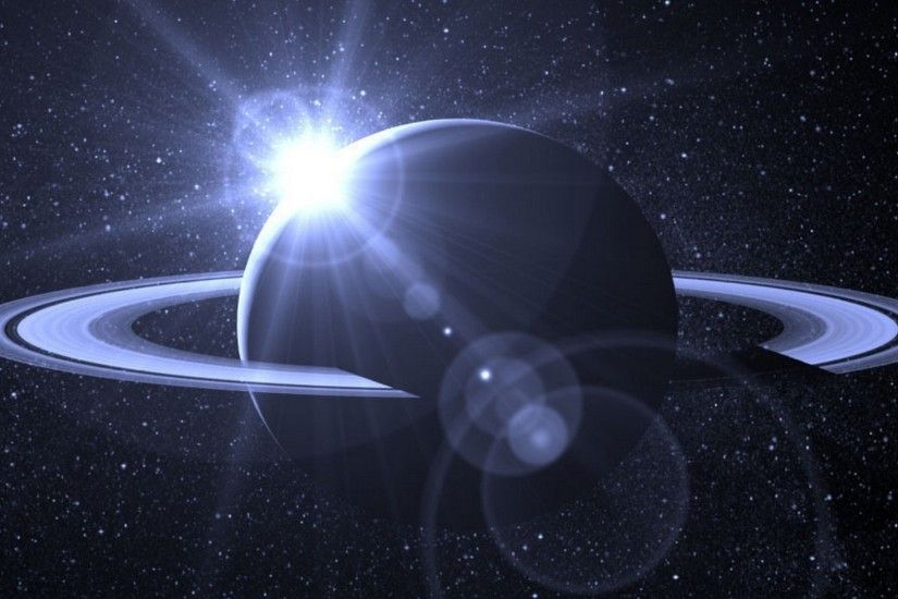 Preview wallpaper planet, orbit, cosmos, galaxy, stars, light 1920x1080