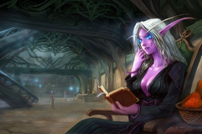 art night elf sitting book elf