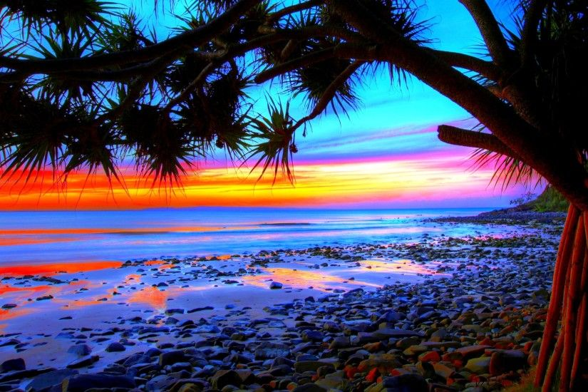 ... colorful beach sunsets wallpaper free desktop i hd images ...