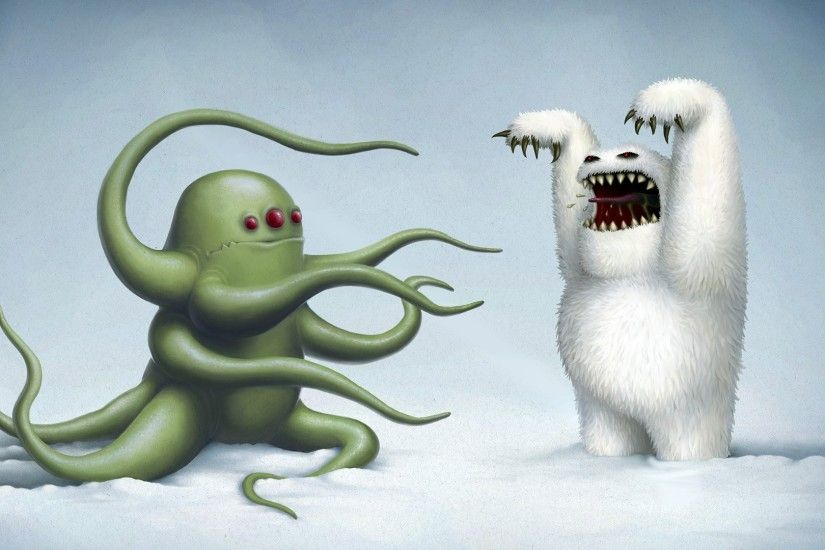 Ocean Monster Against The Yeti HD Astounding Wallpaper Free - Download  Ocean Monster Against The Yeti HD Astounding Wallpaper