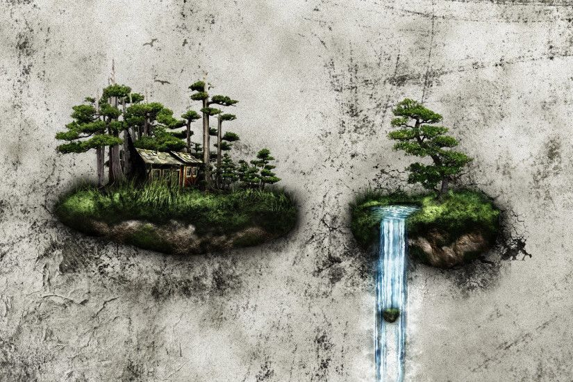 Forest hut on floating island HD Wallpaper 1920x1080 Forest ...