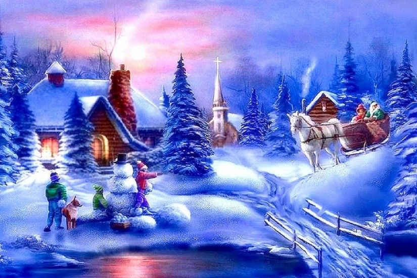 Greetings Tag - Carriage Greetings Winter Churches Creek Paintings Snowman  Horse Cottages Snow Love Year Seasons