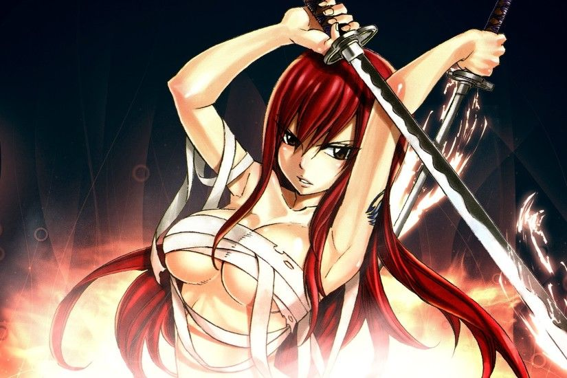 erza scarlet fairy tail anime girl hd wallpaper 1920x1080 7b.