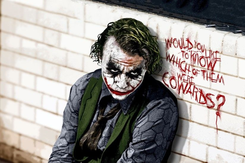 "Joker, villain in ""The dark knight"" ( Heath Ledger )"