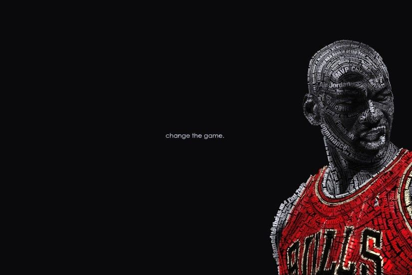 Basketball Black Background Change Chicago Bulls Michael Jordan NBA Text  Typography Wall