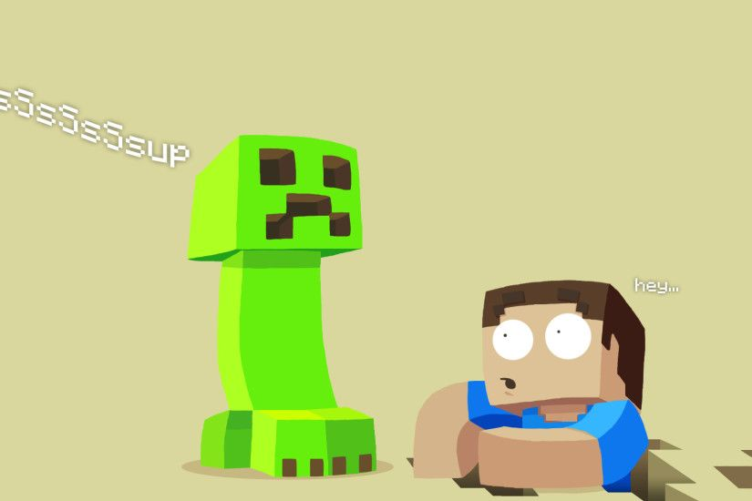 Flat Minecraft Wallpaper with a Creeper and Steve