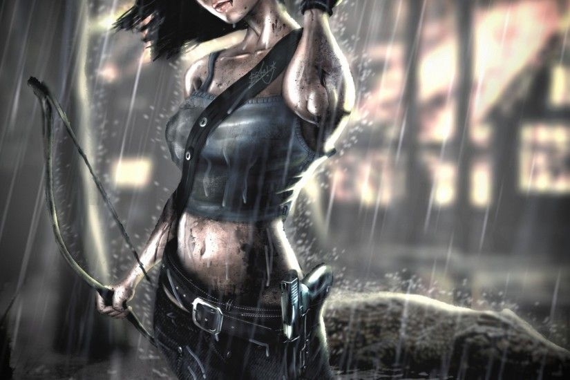 Download now full hd wallpaper lara croft heavy rain bow gun ...